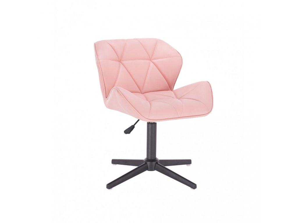 Kosmetická židle MILANO na černé čtyřramenné podstavě - růžová