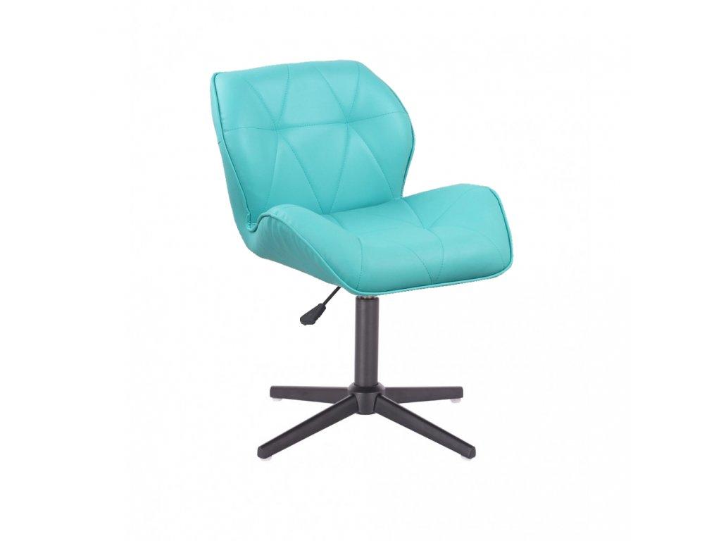Kosmetická židle MILANO na černé čtyřramenné podstavě - tyrkysová