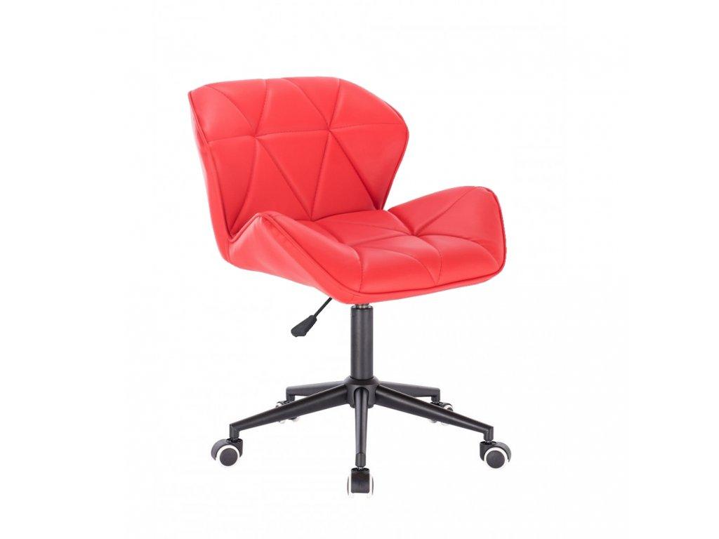 Kosmetická židle MILANO na černé podstavě s kolečky - červená