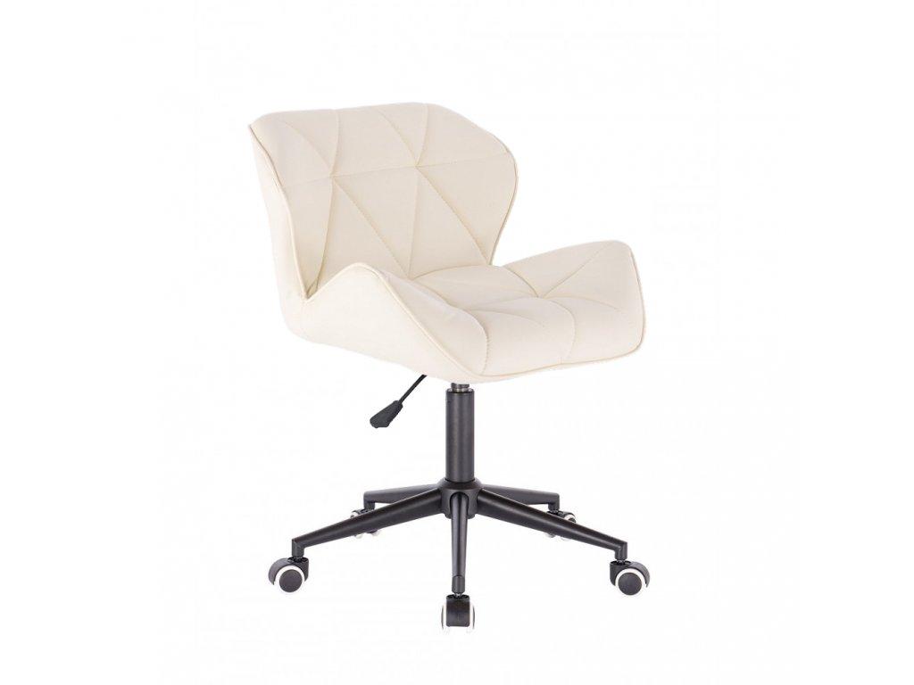 Kosmetická židle MILANO na černé podstavě s kolečky - krémová
