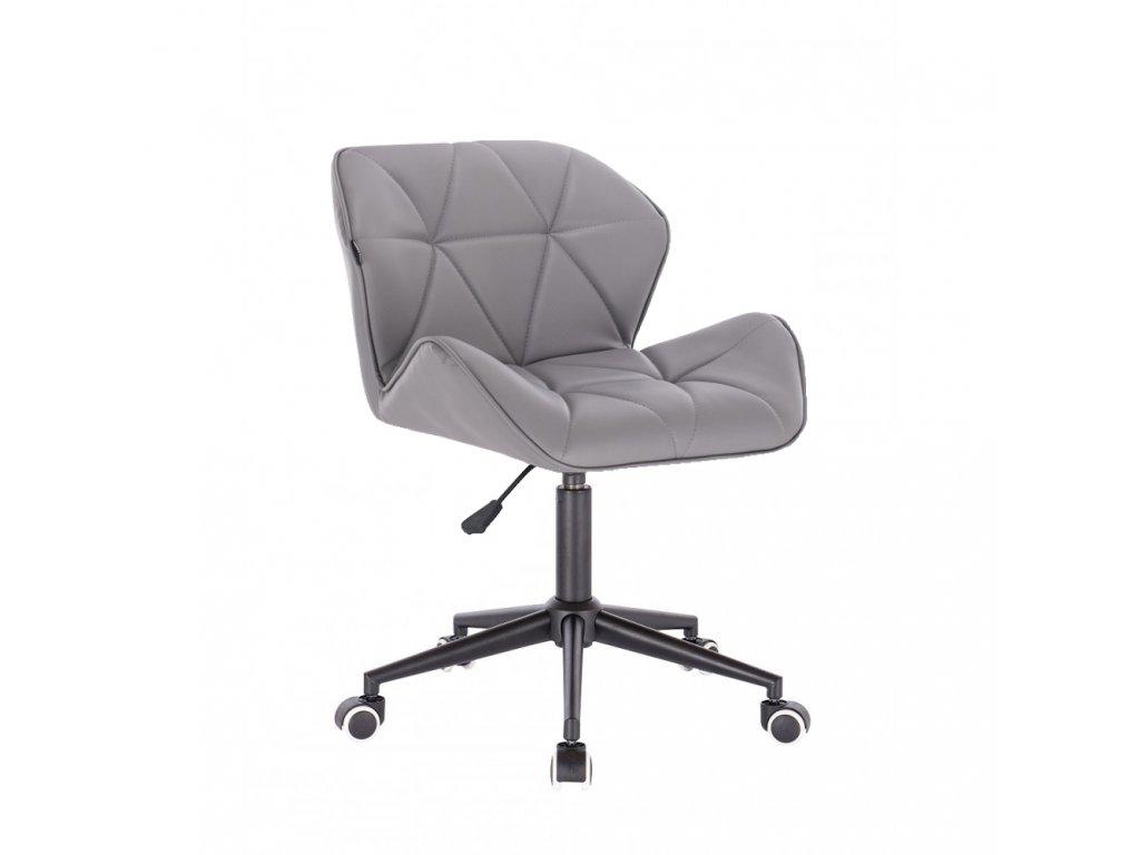 Kosmetická židle MILANO na černé podstavě s kolečky - šedá