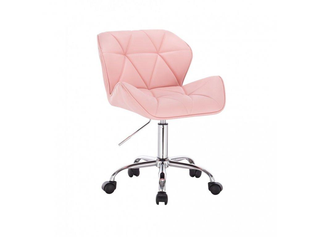 Kosmetická židle MILANO na základní podstavě s kolečky - růžová