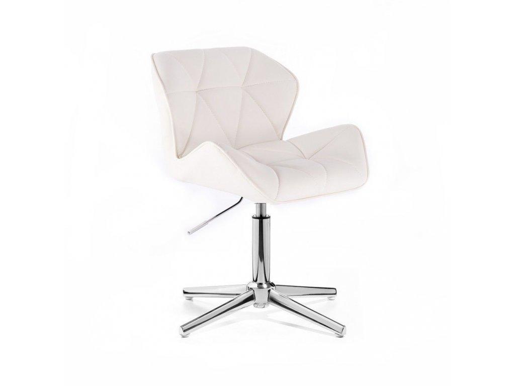 Kosmetická židle MILANO stříbrné čtyřramenné podstavě - bílá