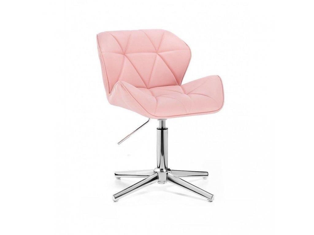 Kosmetická židle MILANO stříbrné čtyřramenné podstavě - růžová