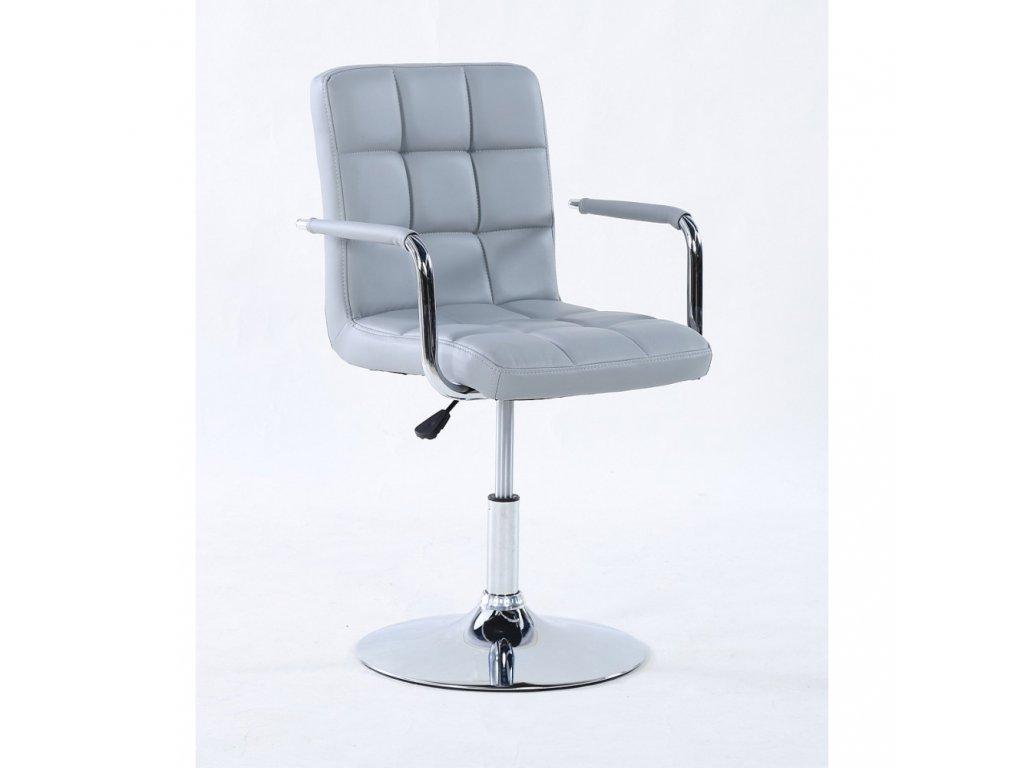 Kosmetická židle VERONA na kulaté podstavě - šedá