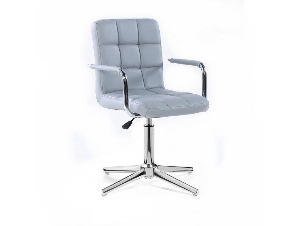 Kosmetická židle VERONA na stříbrné křížové podstavě - šedá