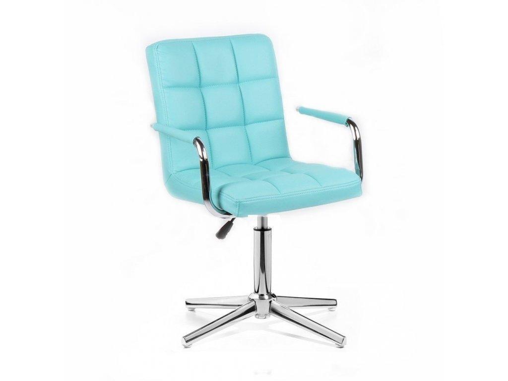 Kosmetická židle VERONA na stříbrné křížové podstavě - tyrkysová