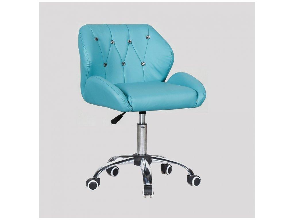 Pracovní / kosmetická židle PALERMO na kolečkové podstavě - tyrkysová