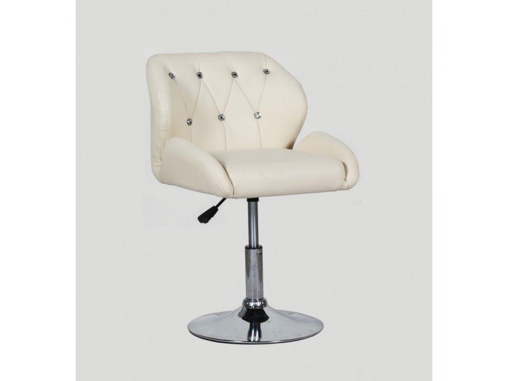Pracovní / kosmetická židle PALERMO na kulaté podstavě - krémová