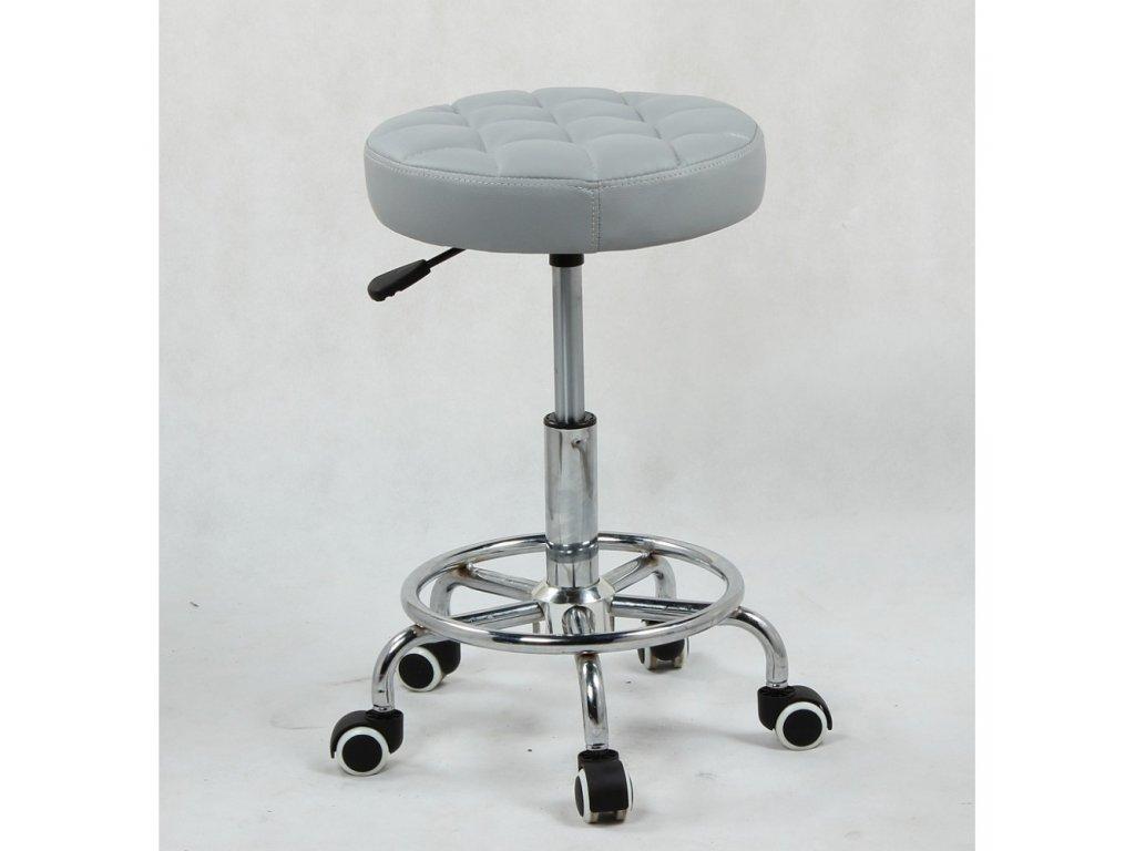 Taburet LING na kolečkové podstavě - šedý