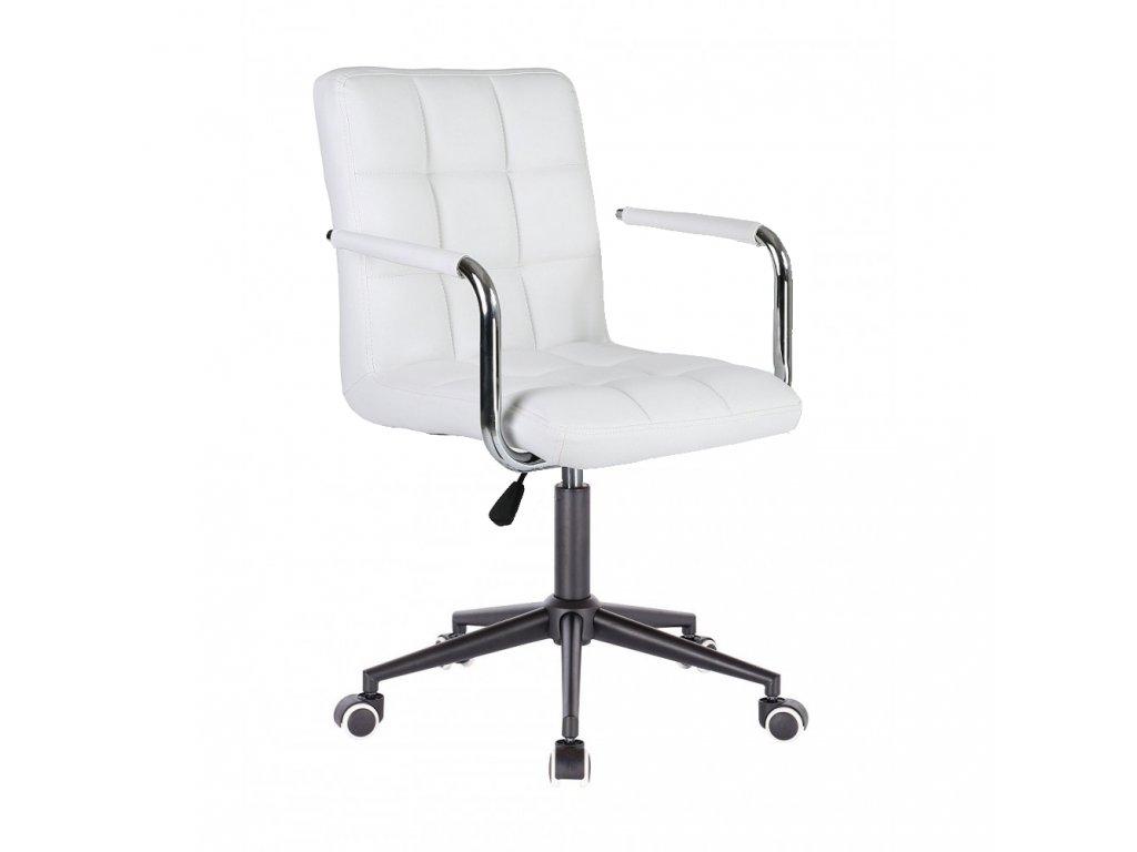 Židle na černé kolečkové podstavě VERONA - bílá