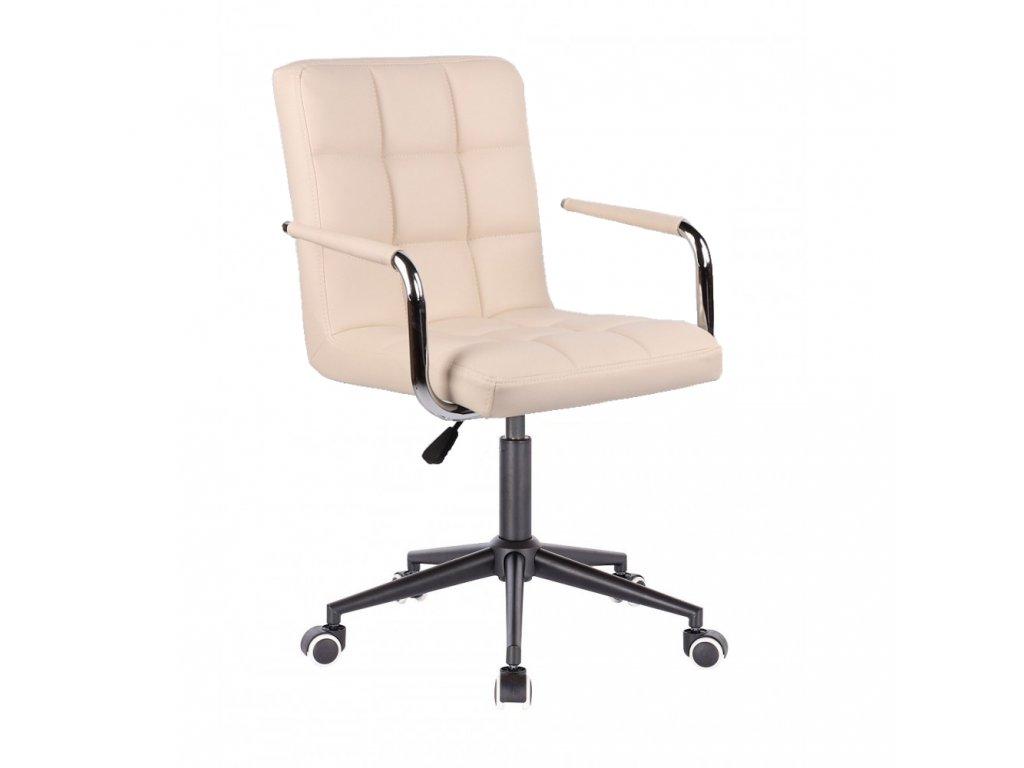 Židle na černé kolečkové podstavě VERONA - krémová