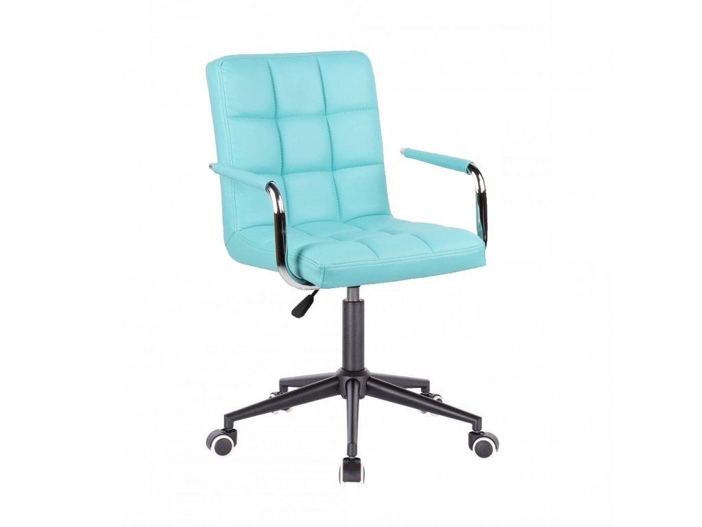 Židle na černé kolečkové podstavě VERONA - tyrkysová