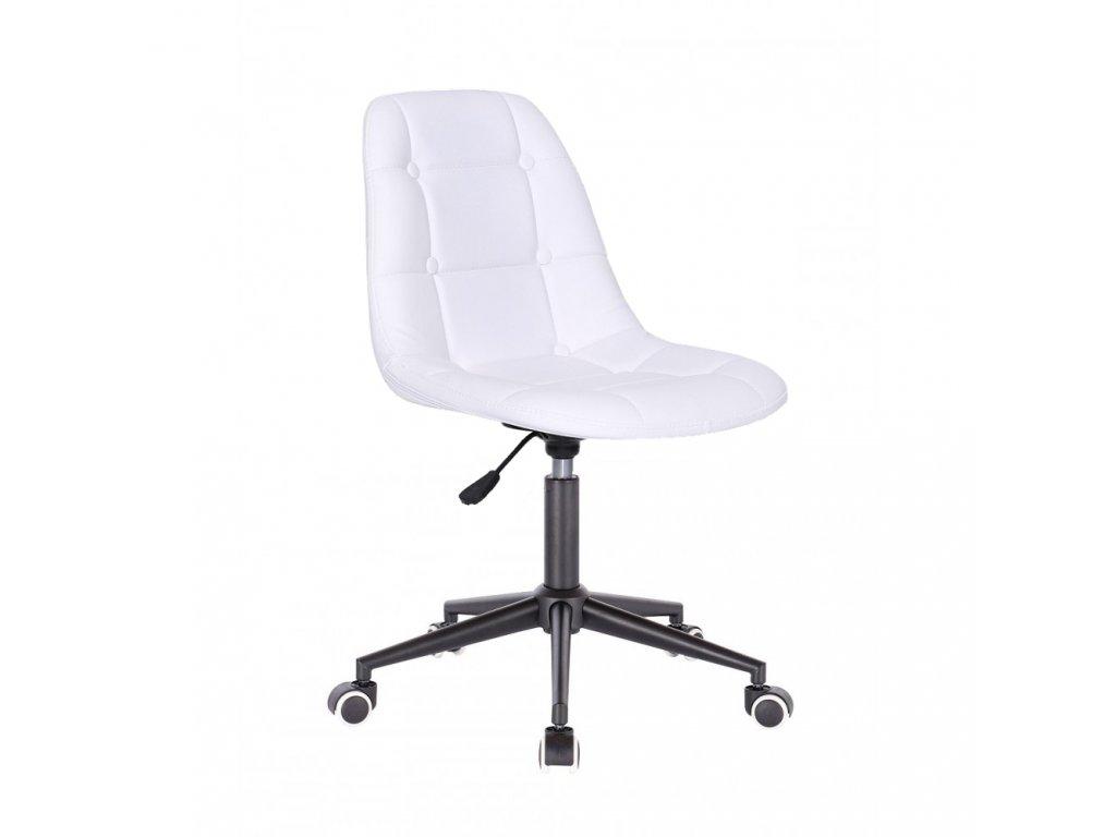 Židle na černé podstavě s kolečky LAGOS - bílá