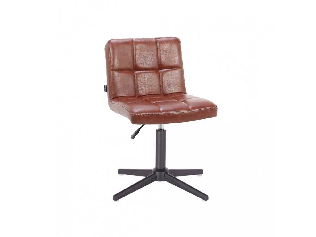 Židle SAVONA na černé křížové podstavě - hnědá