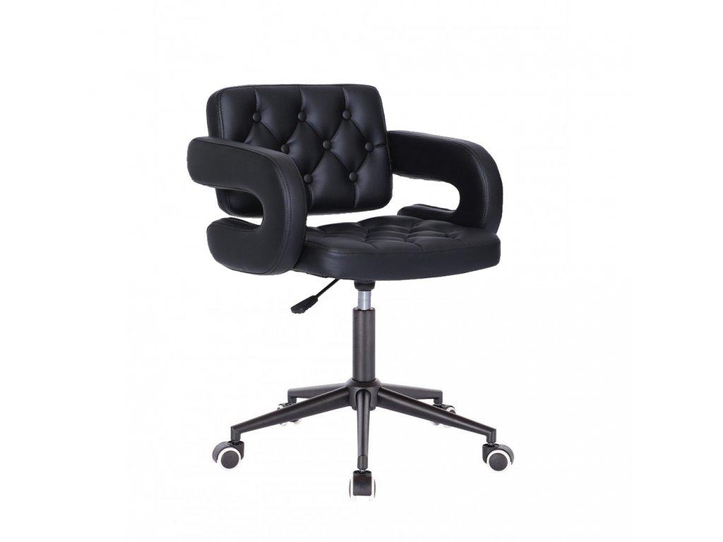 Židle Stockholm na černé kolečkové podstavě - černá