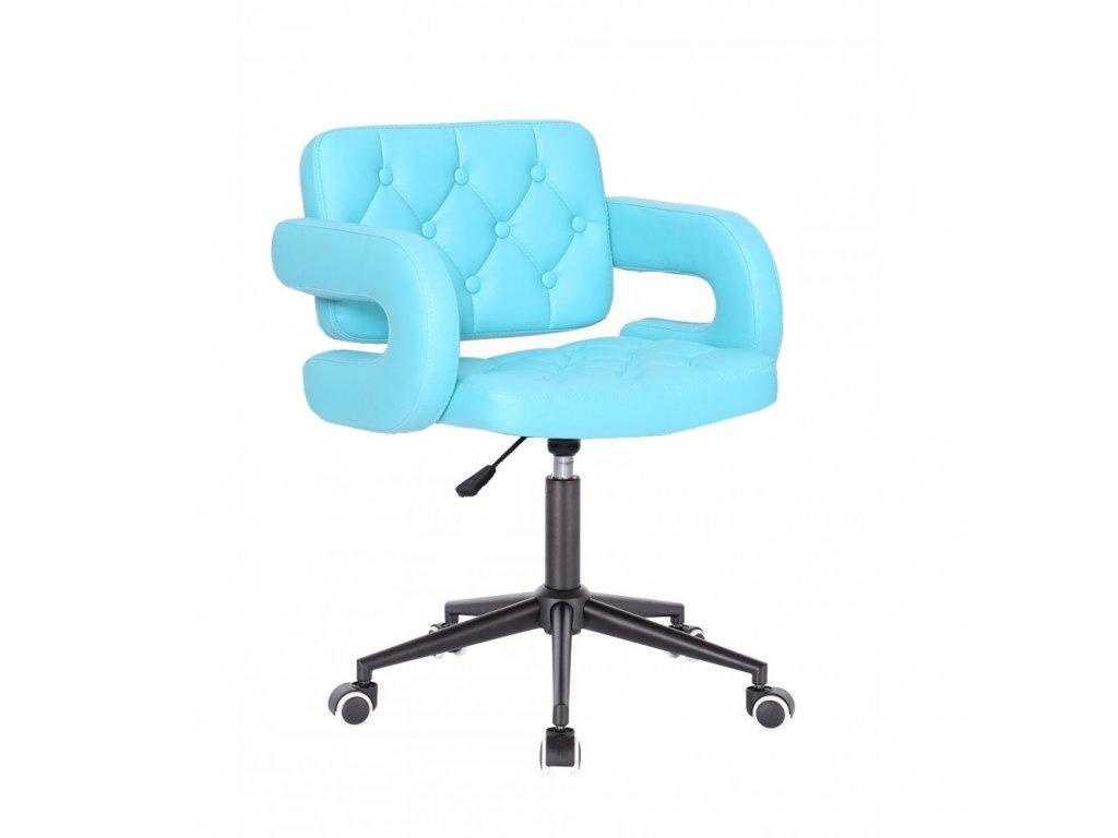 Židle Stockholm na černé kolečkové podstavě - tyrkysová