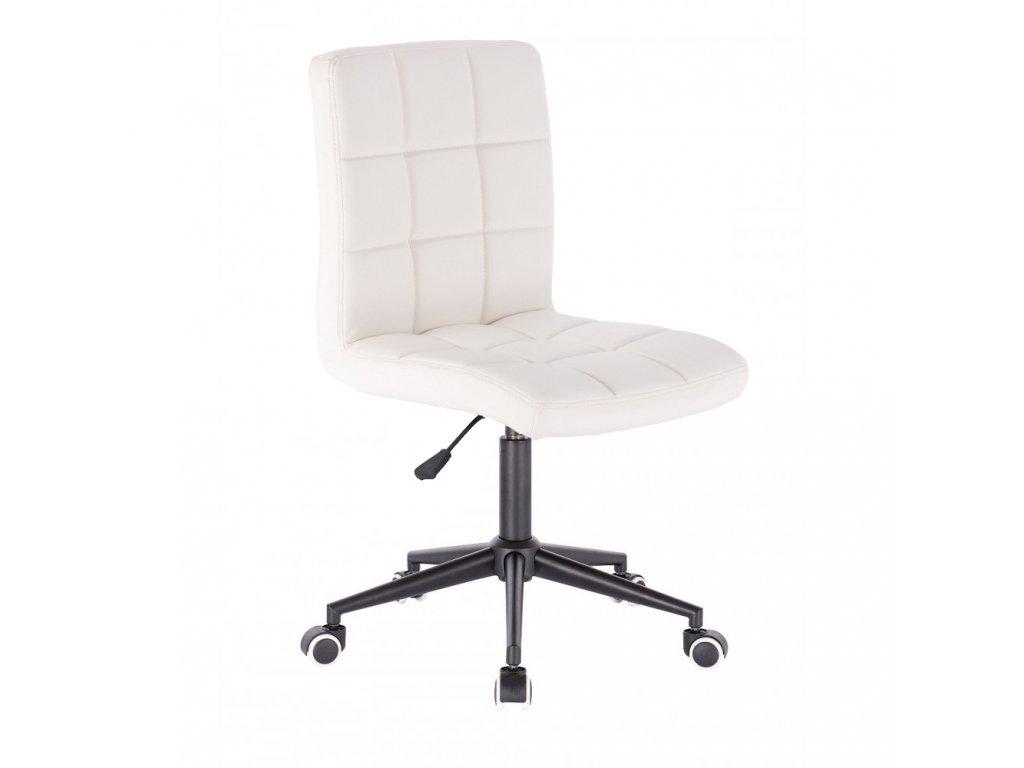 Židle TOLEDO na černé kolečkové podstavě - bílá