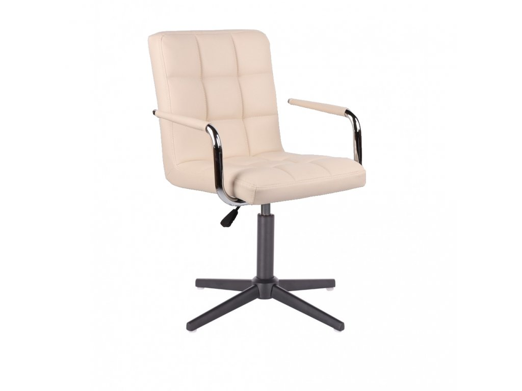 Židle VERONA na černé křížové podstavě - krémová