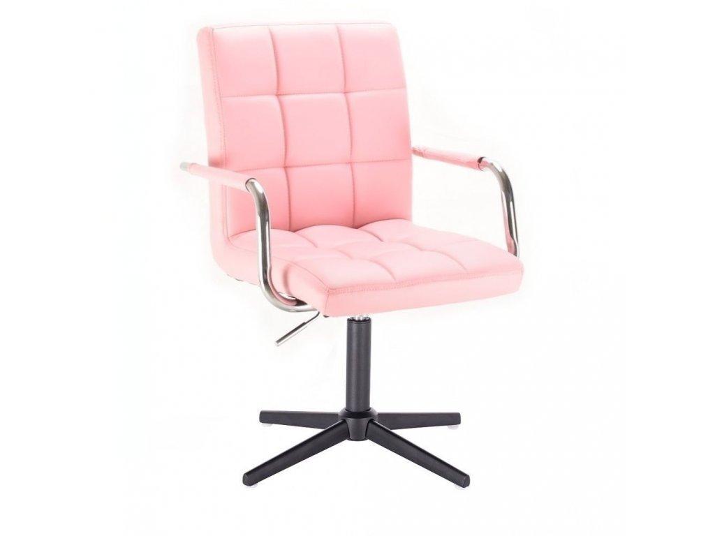 Židle VERONA na černé křížové podstavě - růžová