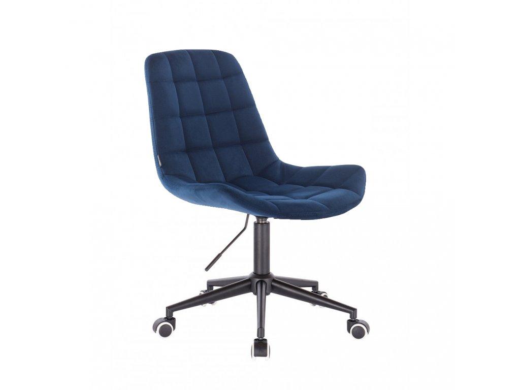 Velurová židle PARIS na černé podstavě s kolečky - modrá