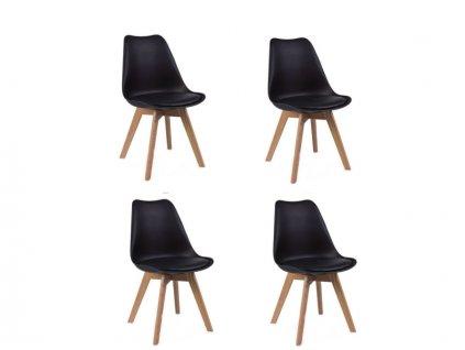 Jídelní židle PORTO - černá (sada 4ks)