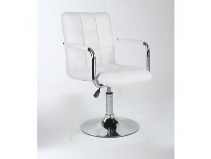 Kosmetická židle VERONA na kulaté podstavě - bílá
