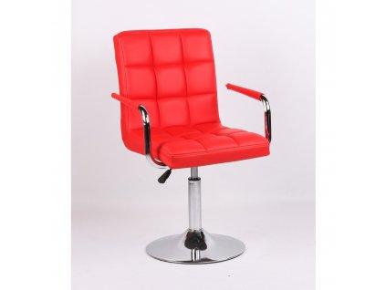 Kosmetická židle VERONA na kulaté podstavě - červená