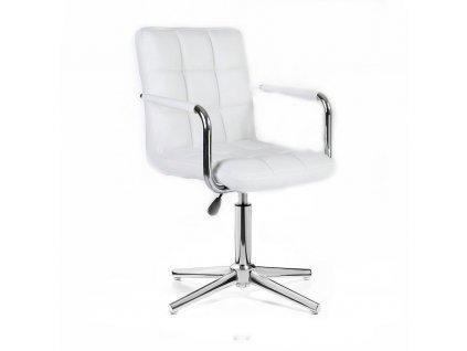 Kosmetická židle VERONA na stříbrné křížové podstavě - bílá