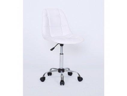 Židle na chromované podstavě s kolečky LAGOS - bílá