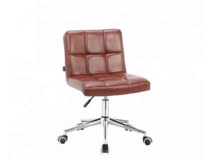 Židle SAVONA na kolečkové podstavě - hnědá lux