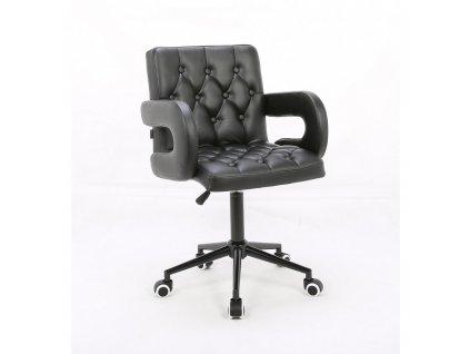Židle SOFIA LUX na černé podstavě s kolečky - černá