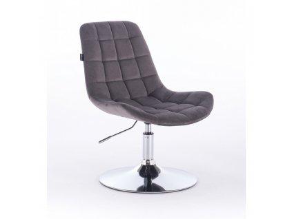 Velurová kosmetická židle PARIS na kulaté podstavě - grafitově šedá
