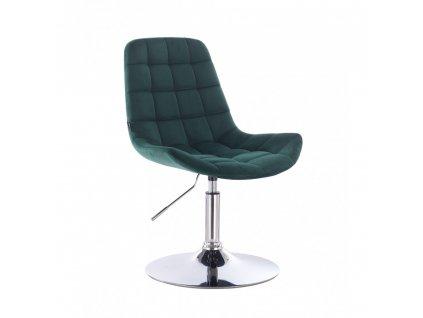 Velurová kosmetická židle PARIS na kulaté podstavě - lahvově zelená