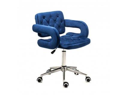 Židle na kolečkách Stockholm - modrý velur