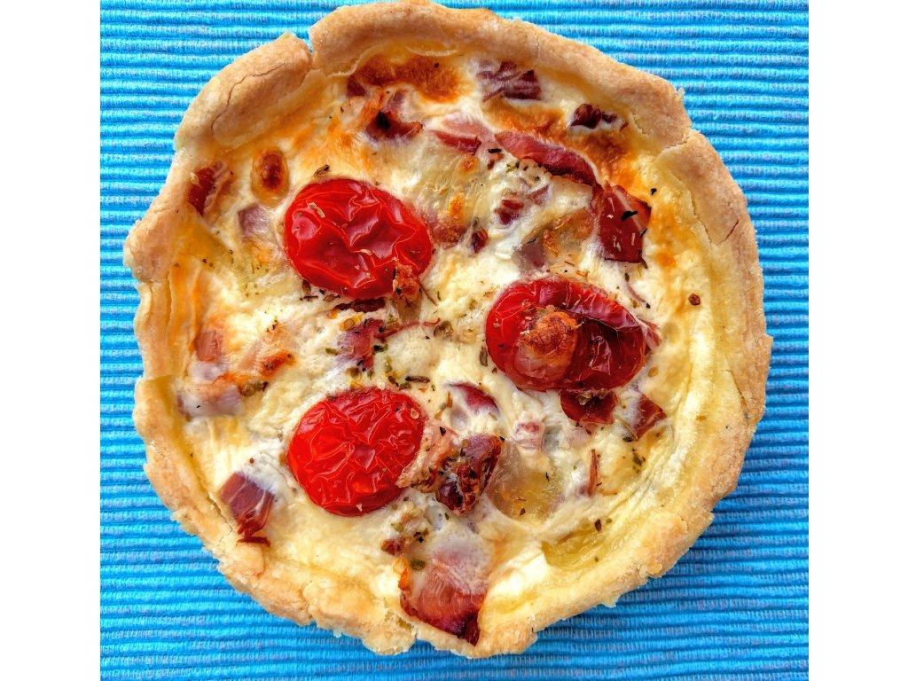 Quiche italský s rajčaty, mozzarelou a oregánem 120g- čerstvé pečivo
