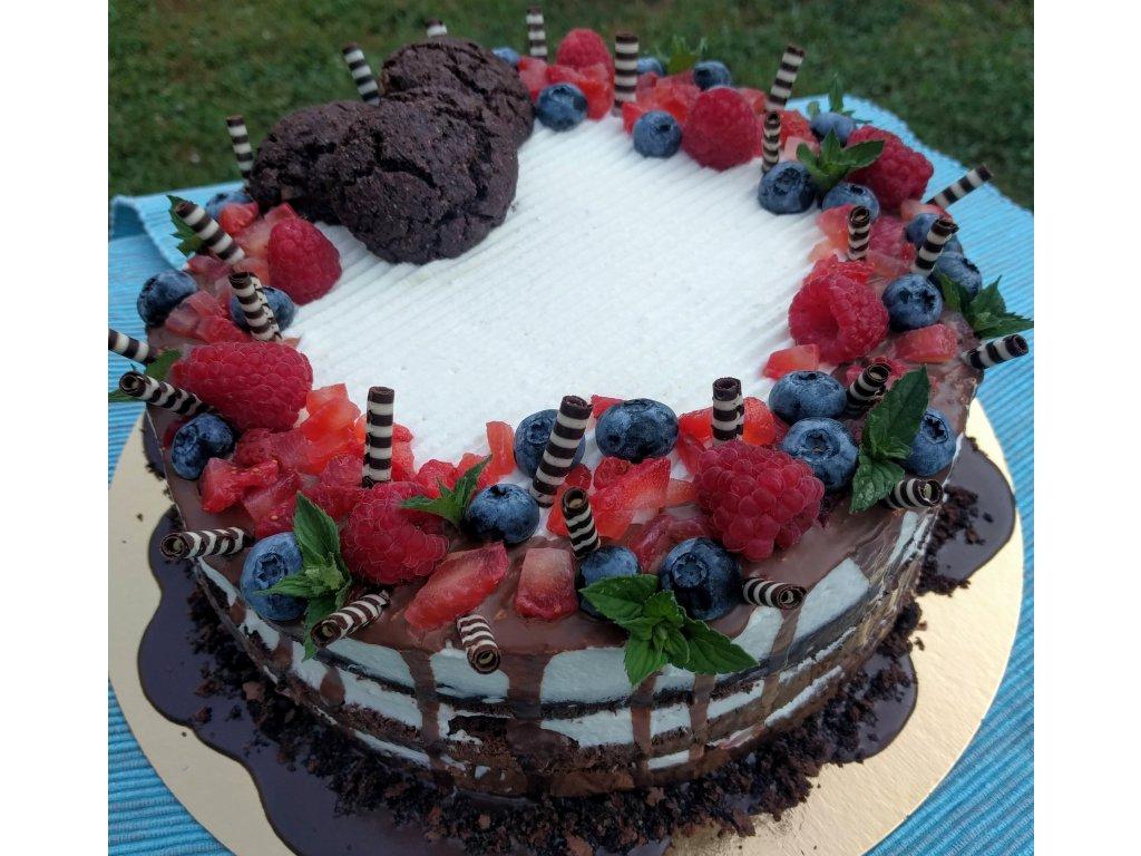 Bezlepkový lehký dort s ovocem, mascarpone a šlehačkou malý 8ks