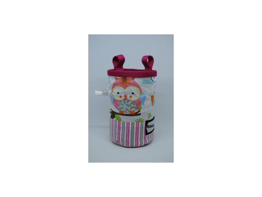 Pytlík na magnézium CHILD - růžová, sovičky, proužky