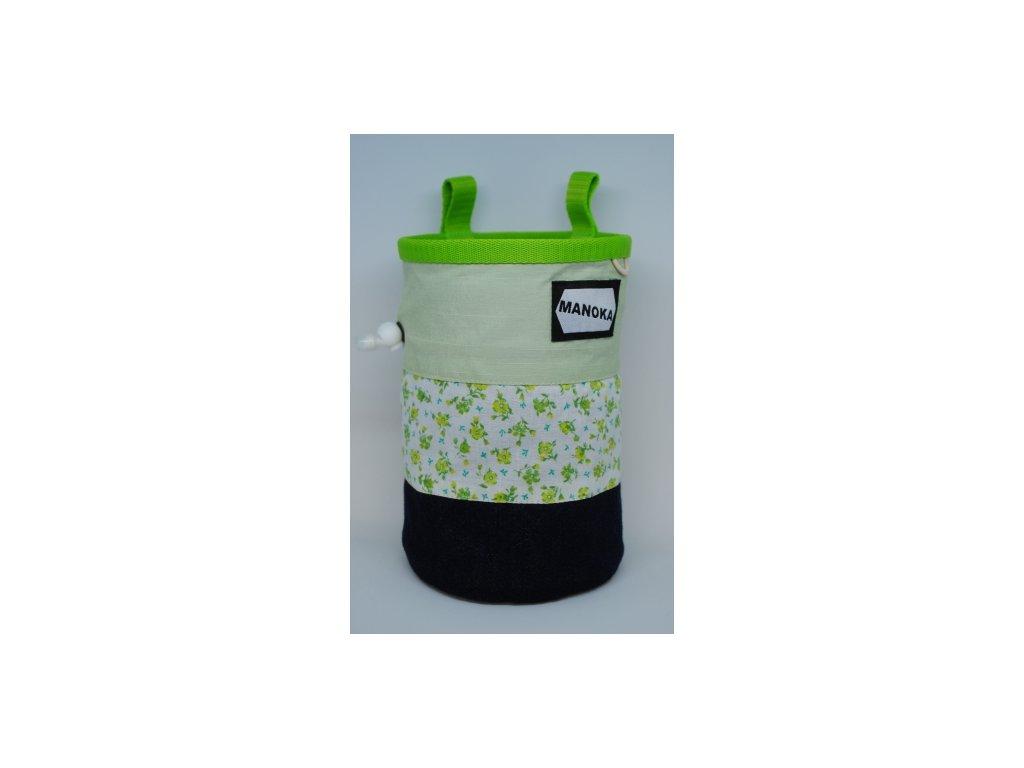 Pytlík na magnézium CLASSIC - zelené pruhované kytičky