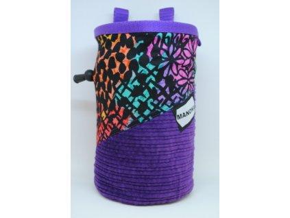 Pytlík na magnezium CLASSIC - fialový manšestr s květinami