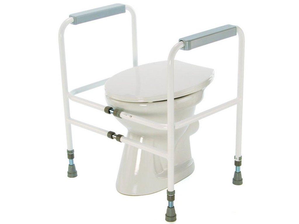 Podpěra na WC s madly přenosná s variabilní šířkou