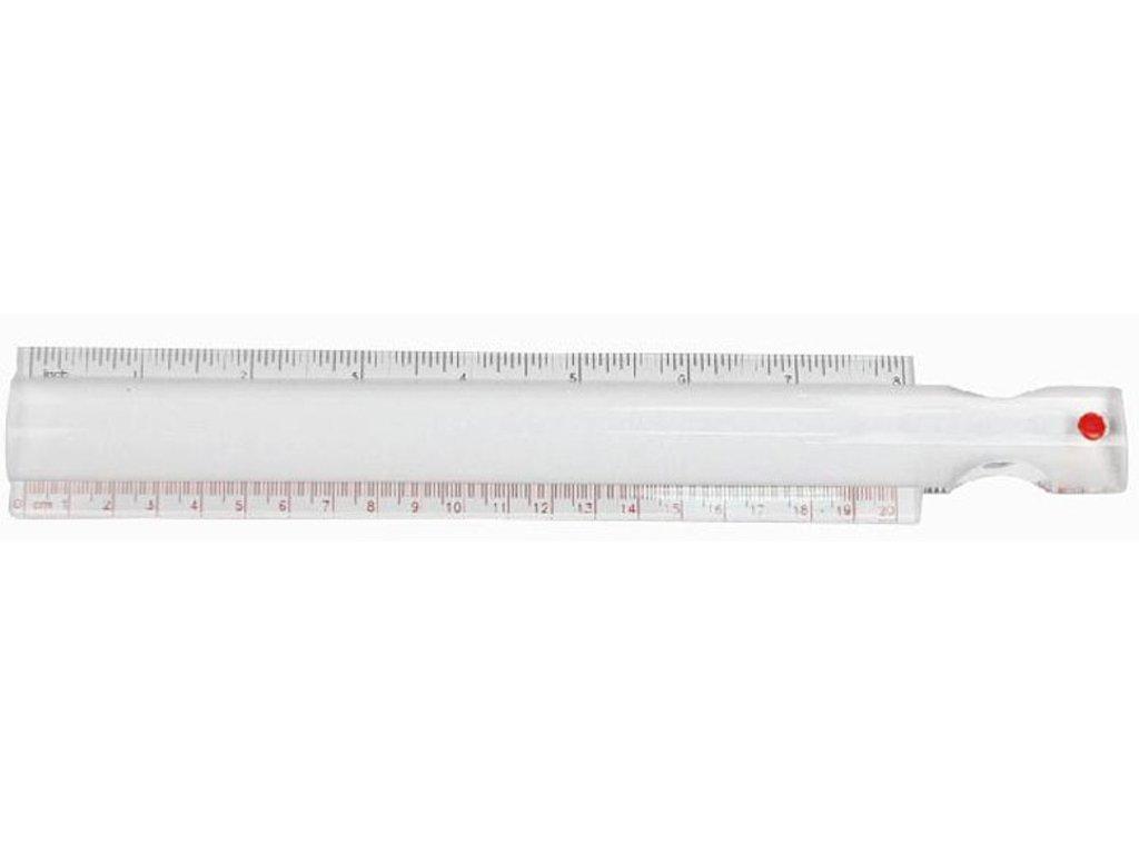 Pravítko s lupou, zvětšení 2x, délka 20 cm