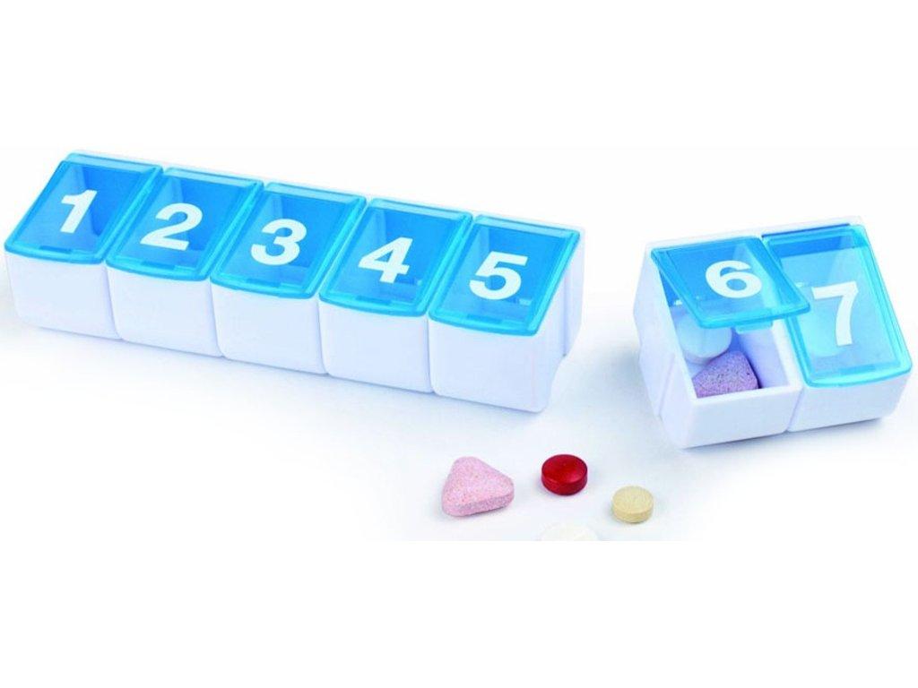 Plastové pouzdro na léky na celý týden, oddělitelné