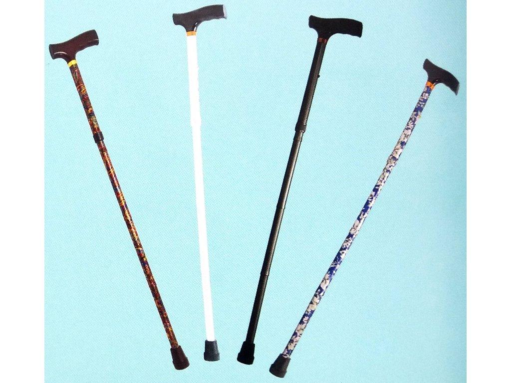 Skládací podpůrná hůl, výška 85 - 95 cm, atraktivní barvy