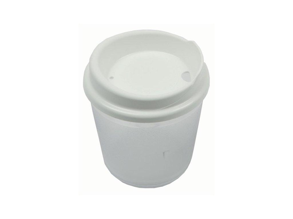 Plastový pohár s víčkem bez otvoru - DOPRODEJ