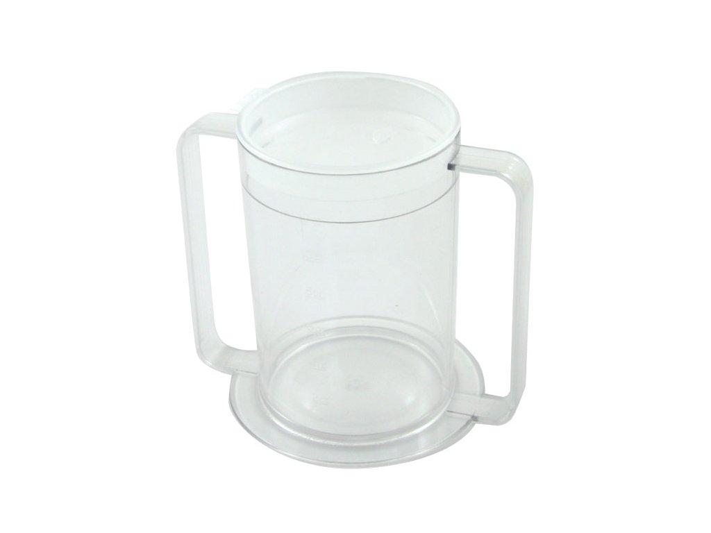 Plastový hrnek s dvěma rukojeťmi a víčky s náustkem, 355 ml