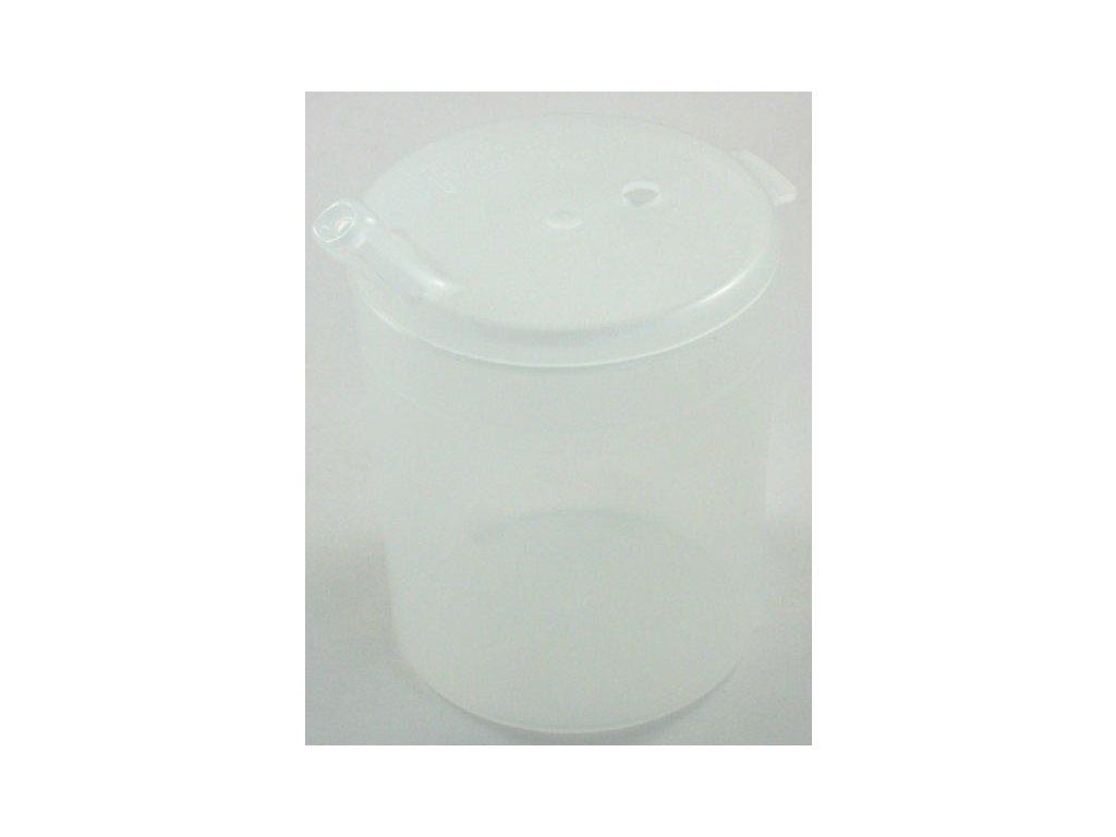 Průhledný plastový pohárek s dvěma víčky