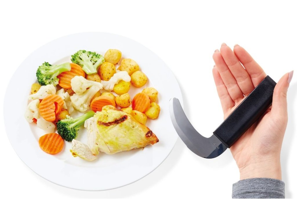 Nůž s kolmou rukojetí a oblým ostřím