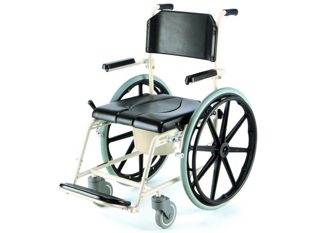 Pojízdný vozík do sprchy s toaletní nádobou
