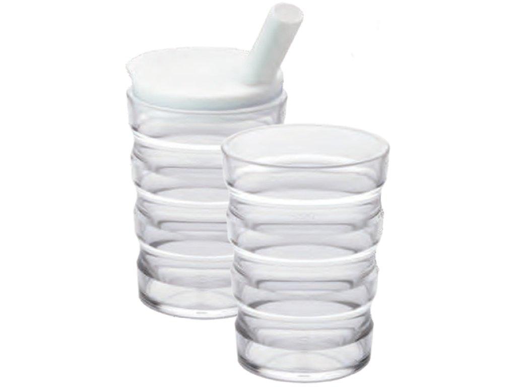 Ergonomický hrnek s víčkem s náustkem a ventilkem pro pití nebo jedení
